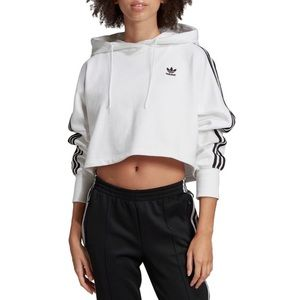 Adidas Women's Cropped Logo Hoodie in White,Black